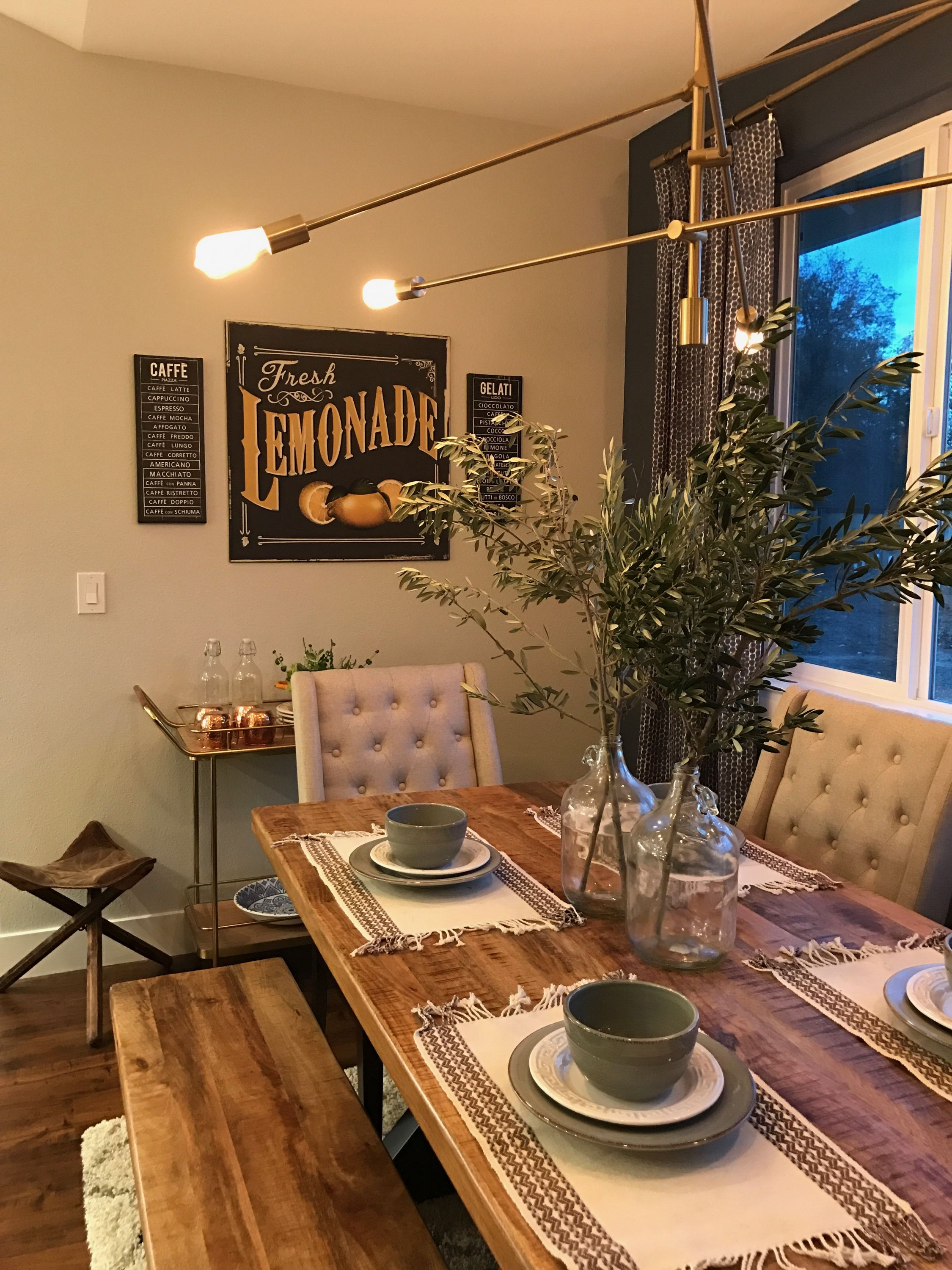 modern farmhouse styled dining room with navy accent wall gold table and accents barcart vintageaccents farmhousetable round patio side cloth inch cabinets glass doors pottery