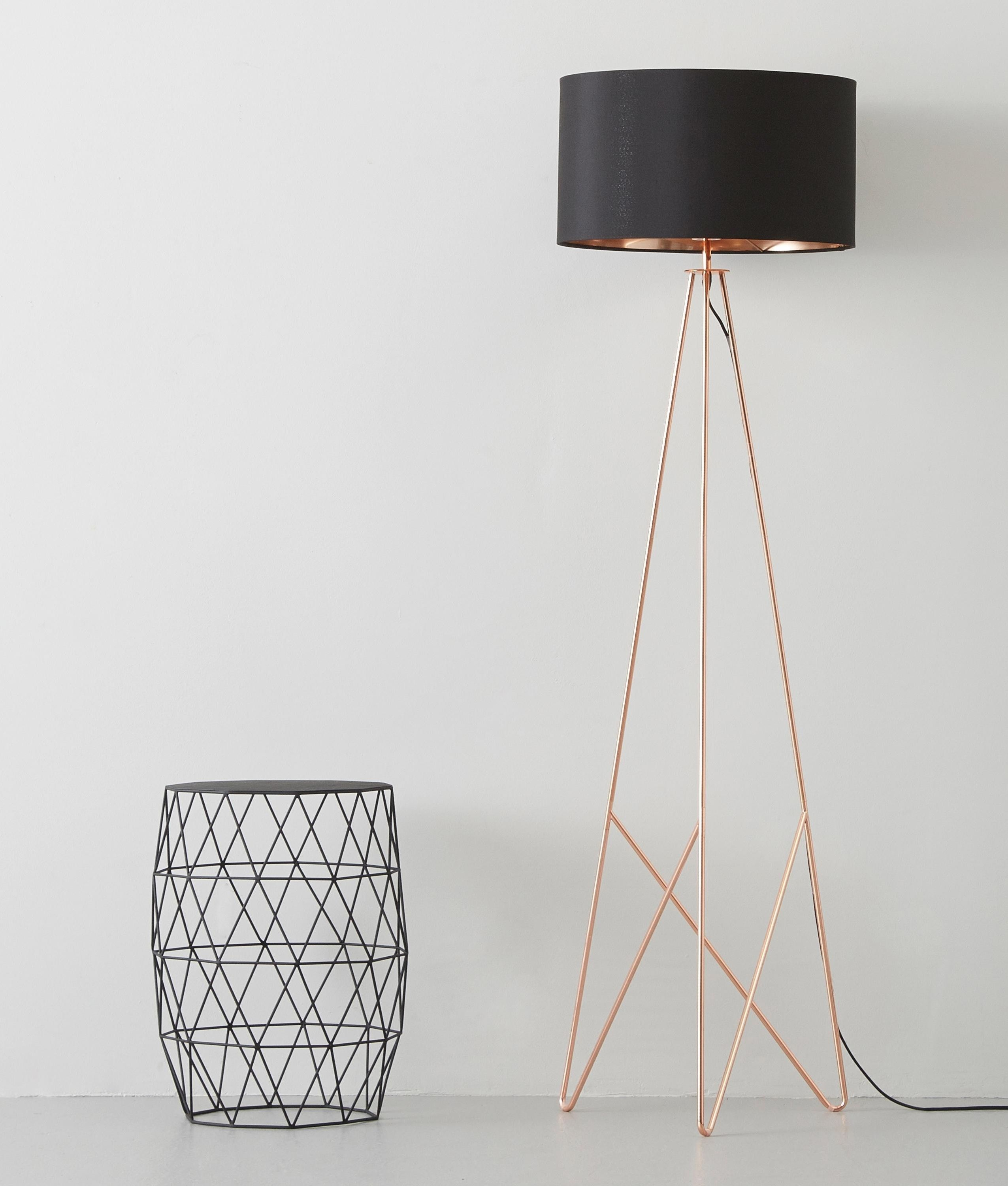 modern geometric tripod floor lamp with shade available two accent spotlight table west elm finishes either copper gold plastic outdoor backsplash small retro side white round