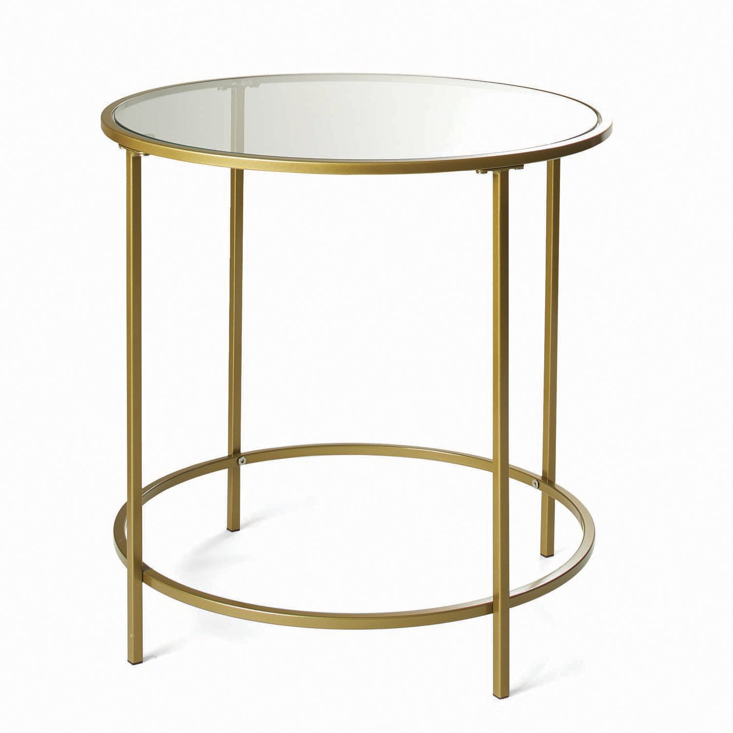 modern glam gold finish metal glass round end table janika accent living room kitchen dining faux marble bedside ashley furniture coffee set white and wood person computer desk