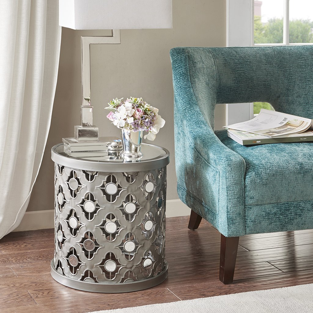 modern glam metallic silver metal mirrored accent table mirror end living room furniture home kitchen wood drum bar and pub tables shabby chic desk console cabinets replica retro