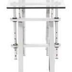 modern glass top adjustable chrome base console table zuo metal accent sofa with shelf frame material surface rectangular furniture fargo white corner end gold and silver lamps 150x150