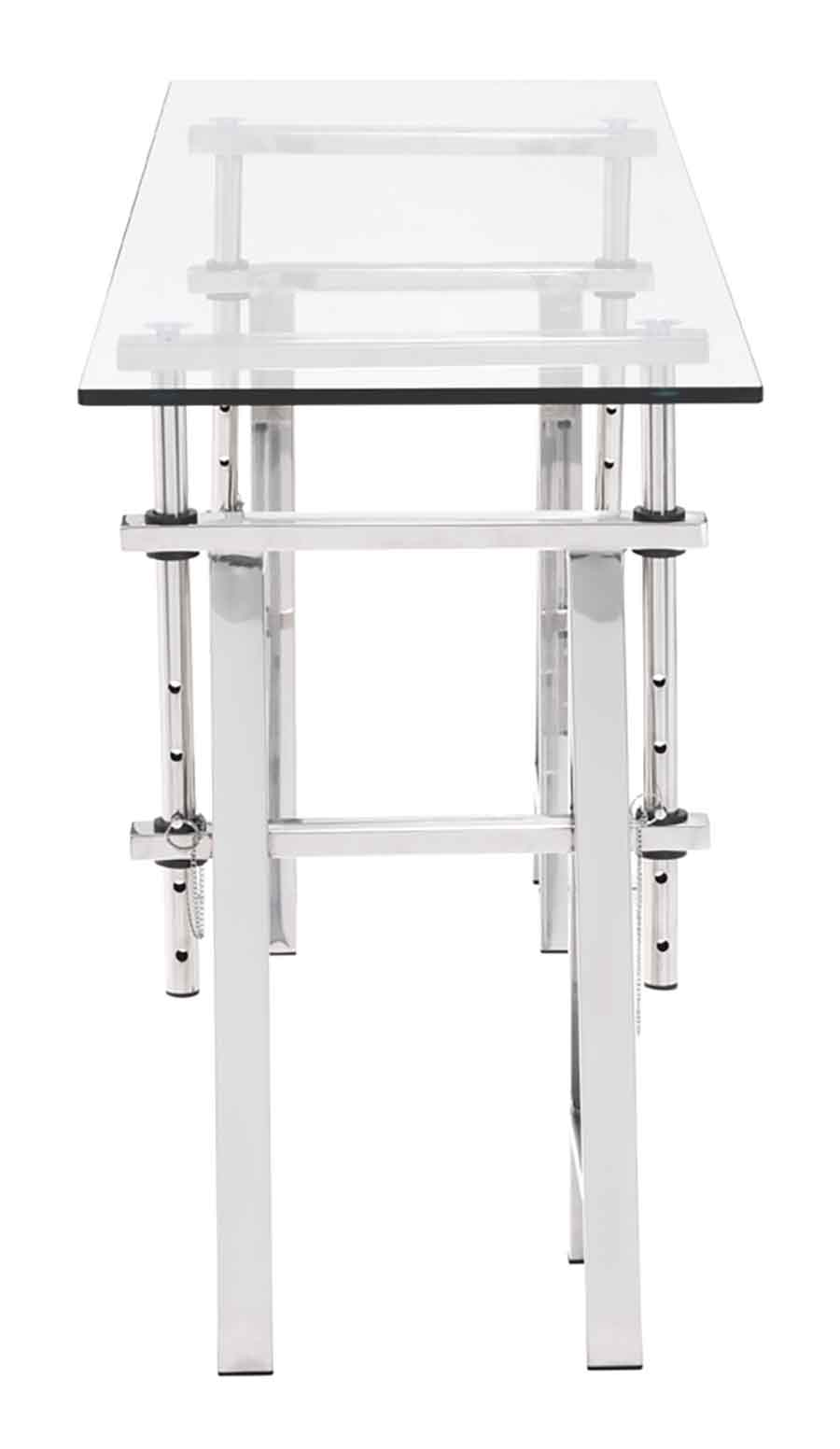 modern glass top adjustable chrome base console table zuo metal accent sofa with shelf frame material surface rectangular furniture fargo white corner end gold and silver lamps
