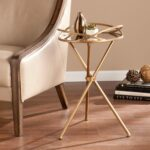 modern glass top end table tempered gold nightstand tray metal upton home linda mirrored accent side carpet termination strip coffee tables and small tall legs for outside chair 150x150