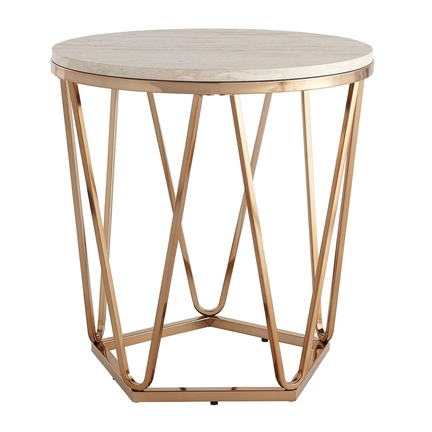modern gold round faux stone table top end coffee wood accent with geometric metal base includes modhaus living pen kitchen dining solid cherry tables small desk hutch target