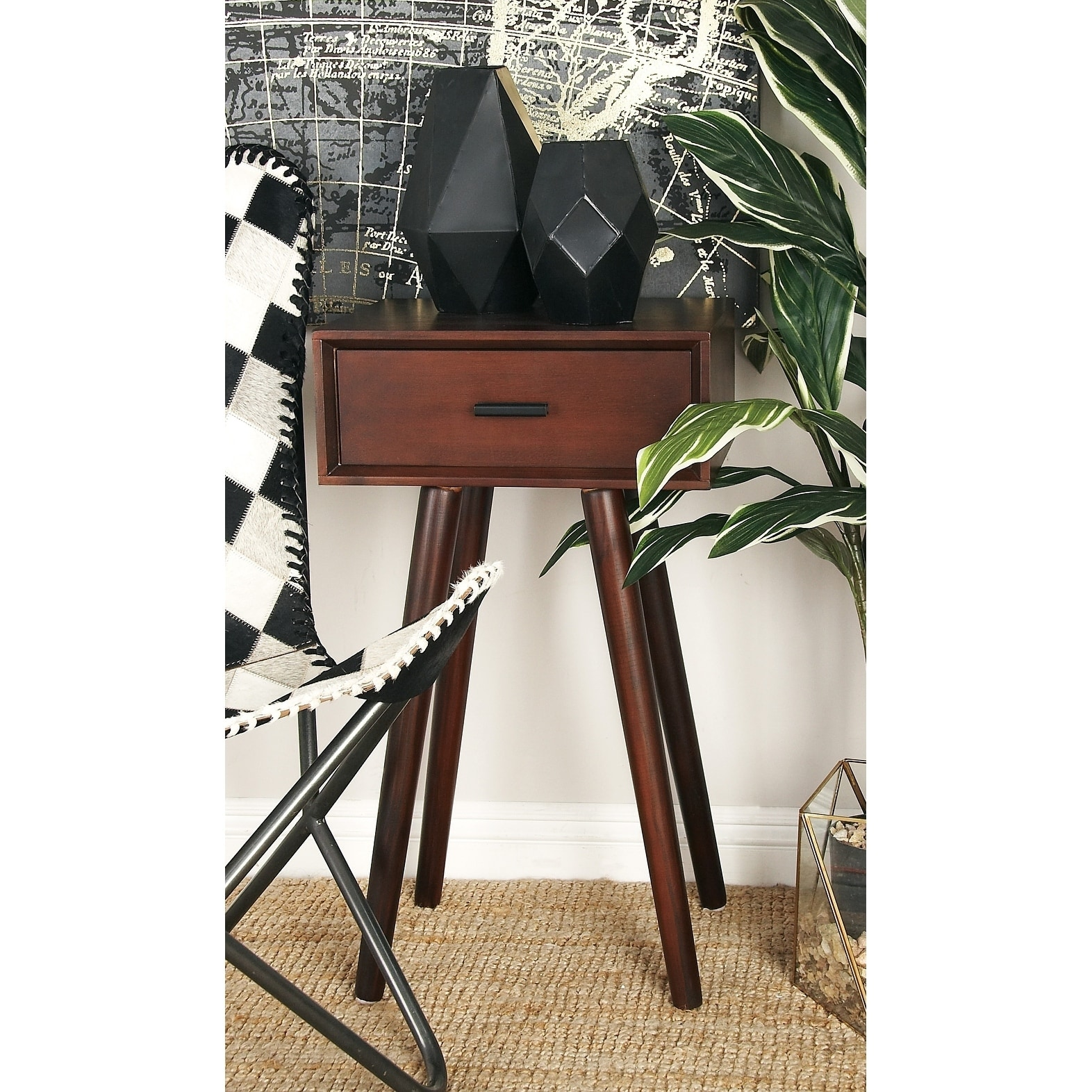 modern inch brown wooden accent table with drawer studio room essentials trestle free shipping today tables furniture high coastal living lamps console funky floor narrow wall
