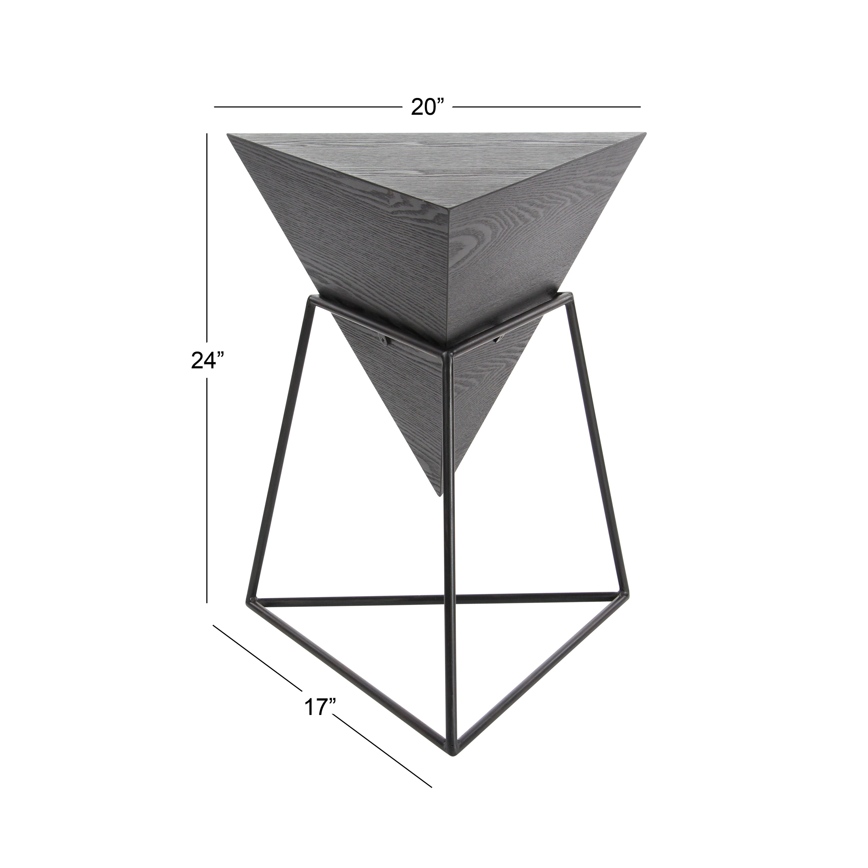 modern inch gray triangular accent table studio triangle corner free shipping today mosaic garden furniture gold marble large black wall clock gallerie wood coffee vintage round