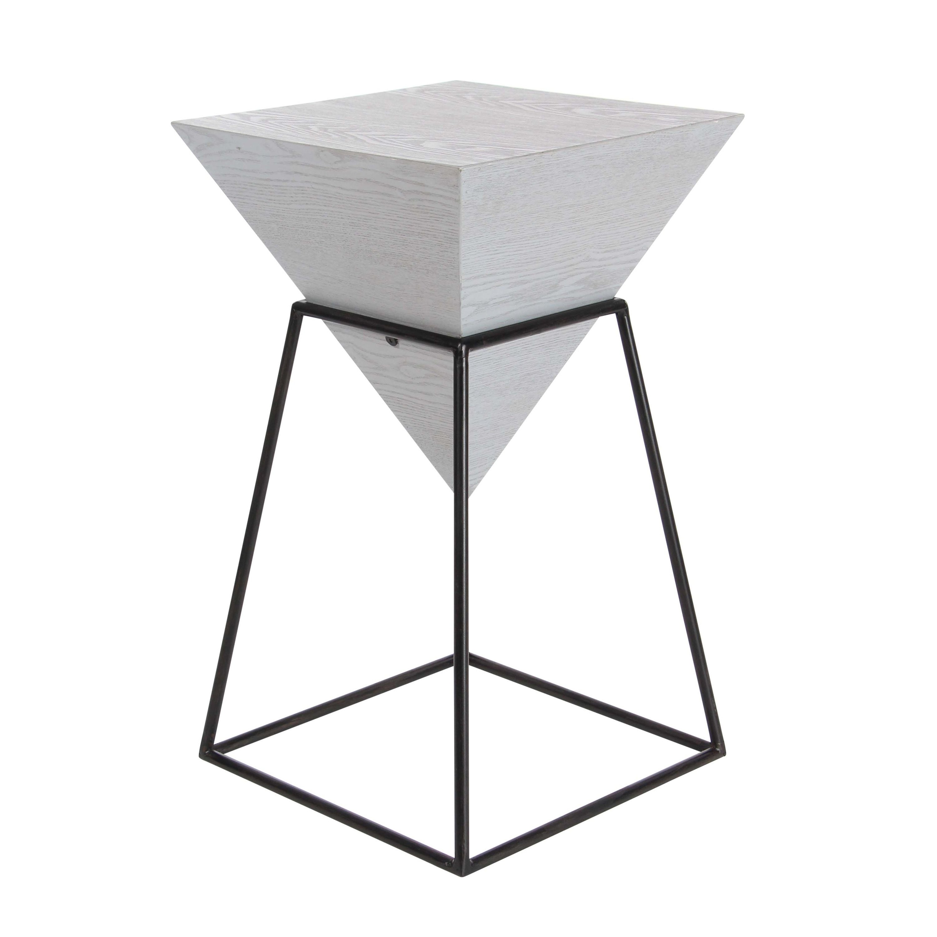 modern inch gray wood and iron accent table studio grey free shipping today style furniture nautical themed outdoor lighting small glass top patio nursery nightstand marble metal