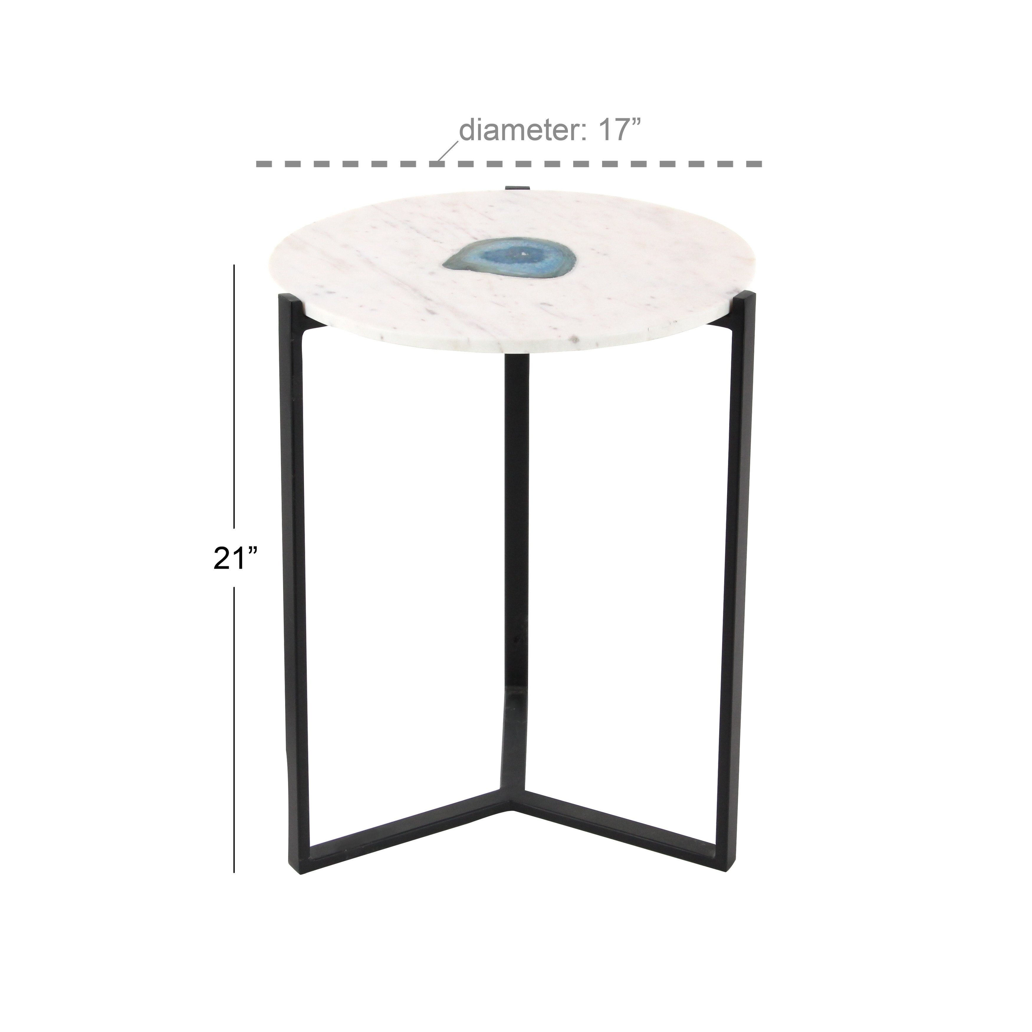 modern inch round black and white marble accent table studio free shipping today top wood coffee trestle dining ethan allen room sets skinny foyer runner quilt kits small mirrored