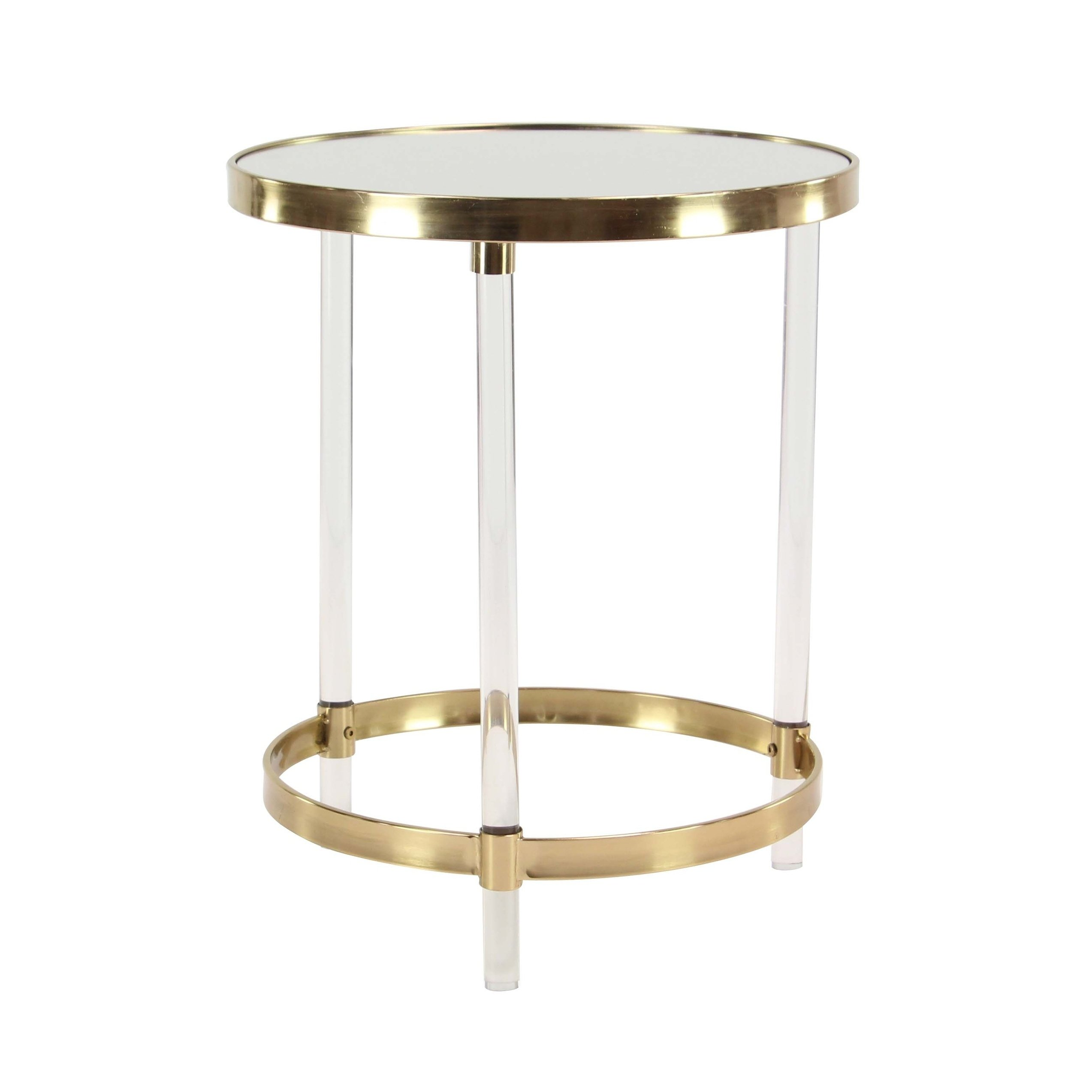 modern inch round iron and acrylic accent table studio free shipping today furniture wellington small patio all glass side coffee legs gold lamp collapsible wooden grill hardwood