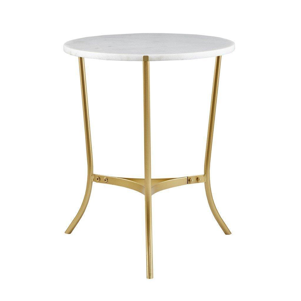 modern inch round white marble top gold metal accent side end table ture crate bedside twin over futon bunk navy blue oval coffee sets floor lamp set argos dining asian lamps