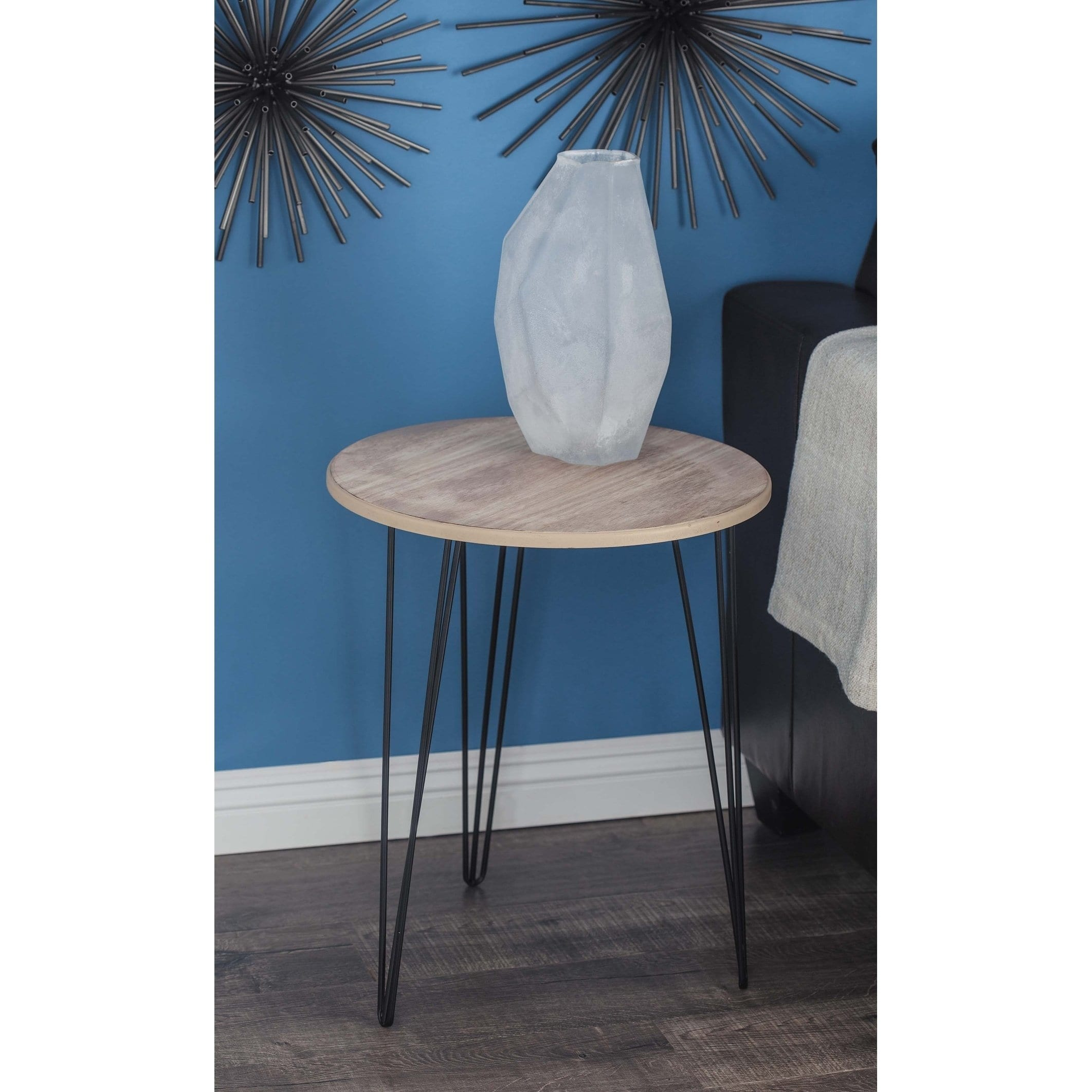 modern inch round wood and iron accent table studio with screw legs free shipping today pieces outdoor drink pottery barn spotlight lamp lavita furniture ludwig drum set leather