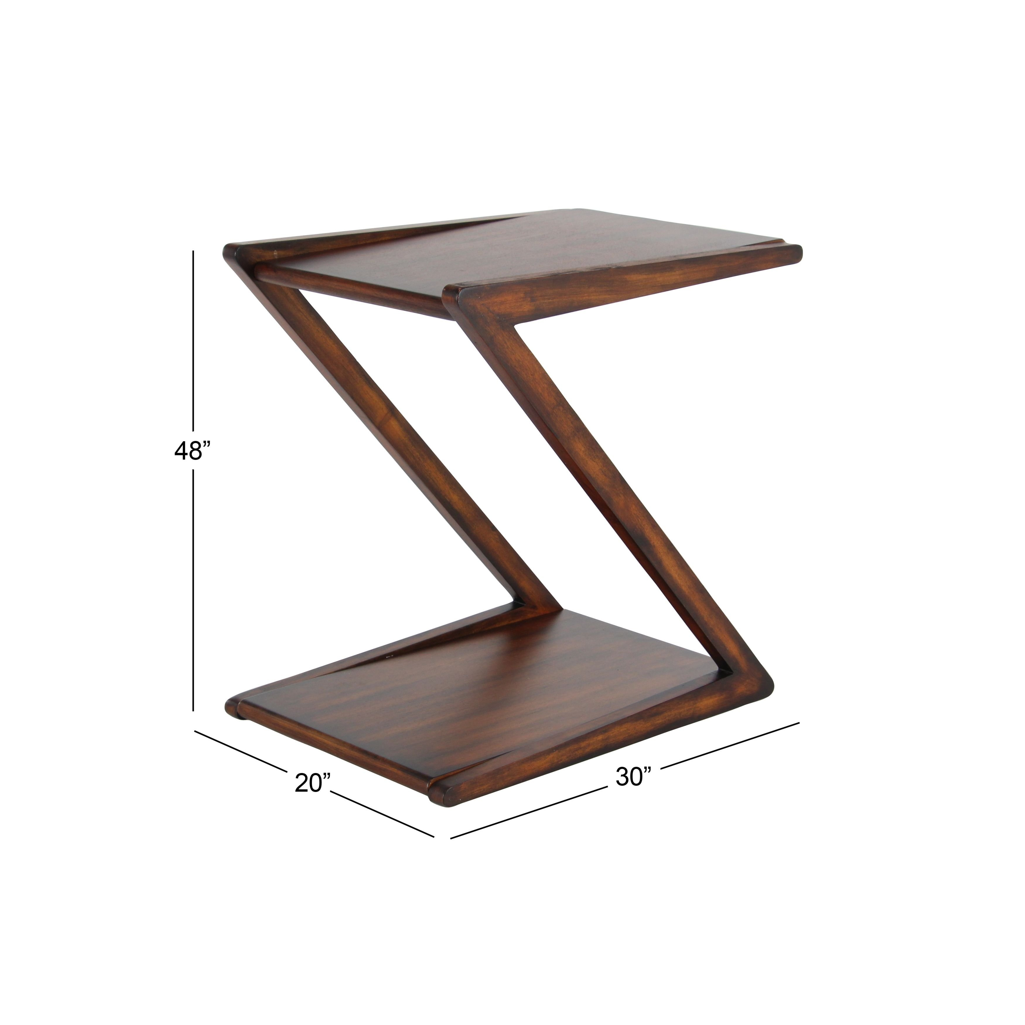 modern inch shaped brown wooden accent table studio free shipping today glass kitchen unfinished furniture console small round patio meyda tiffany lamps black and chairs gold