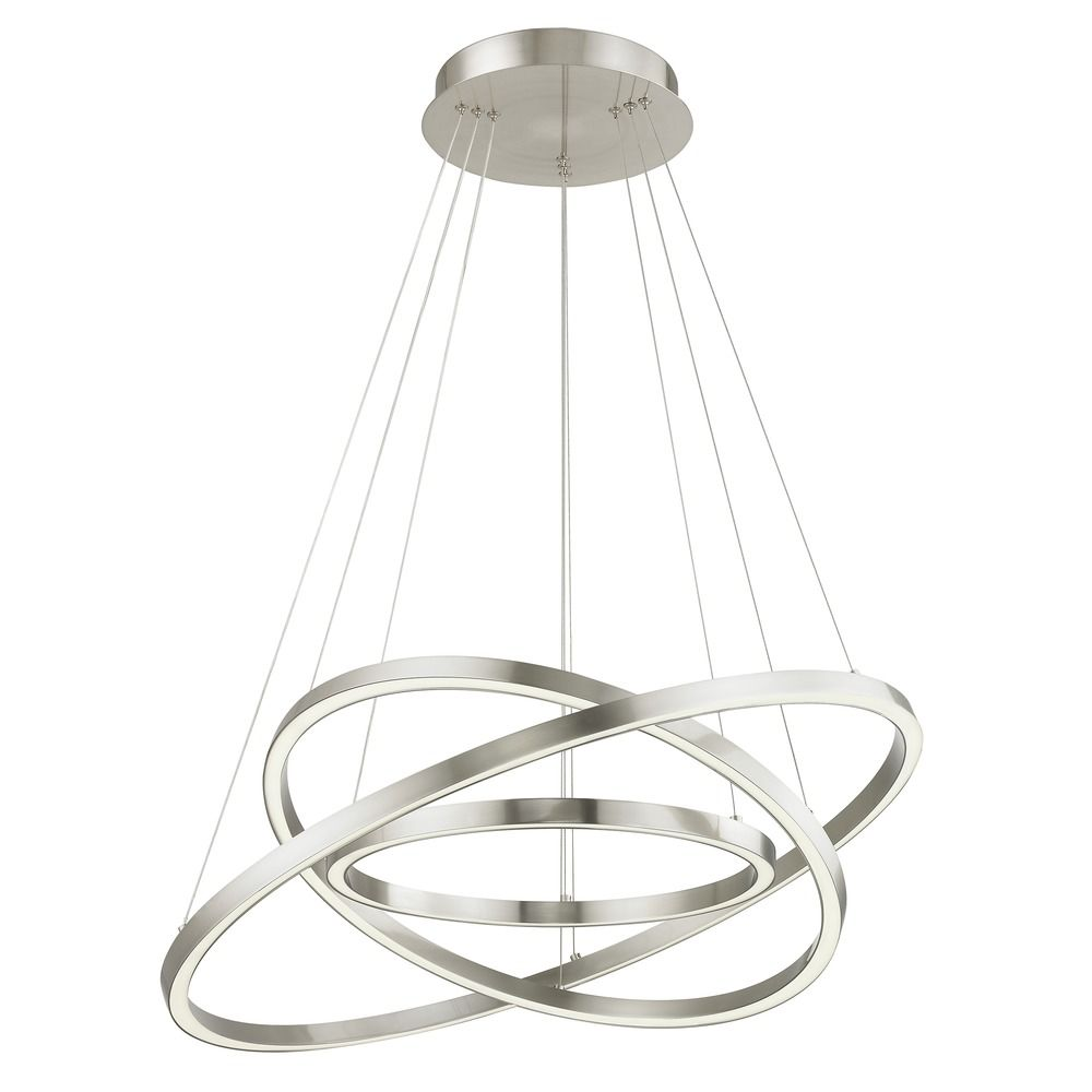 modern inch triple ring led pendant light satin nickel finish zoom accent table lighting seattle design classics nate berkus coffee black pedestal elephant chair unusual wine
