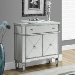 modern living room with inch brushed silver mirrored accent table pillar candle holder light oak wood flooring large storage drawer gray originalviews wall furniture door floor 150x150