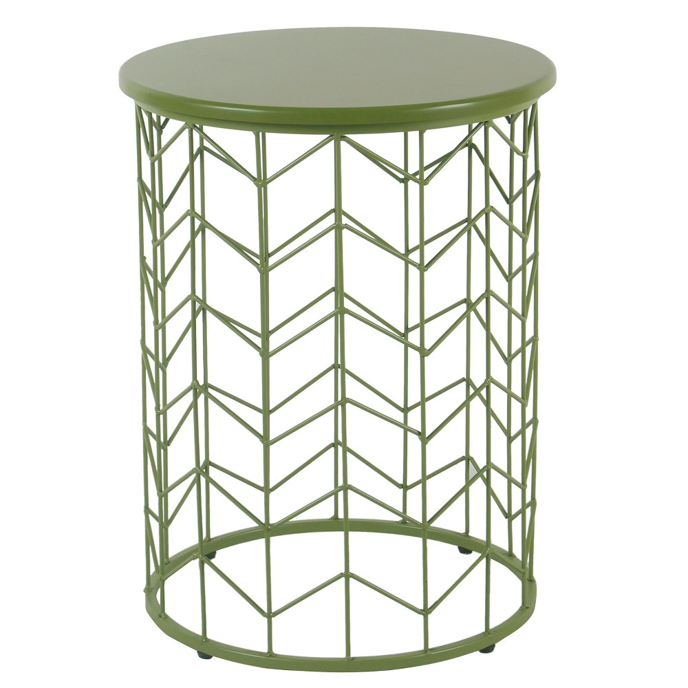 modern metal accent table green homepop products small antique hall cube tables ikea black office desk side with wheels hairpin legs couch decor vintage gold coffee concrete top