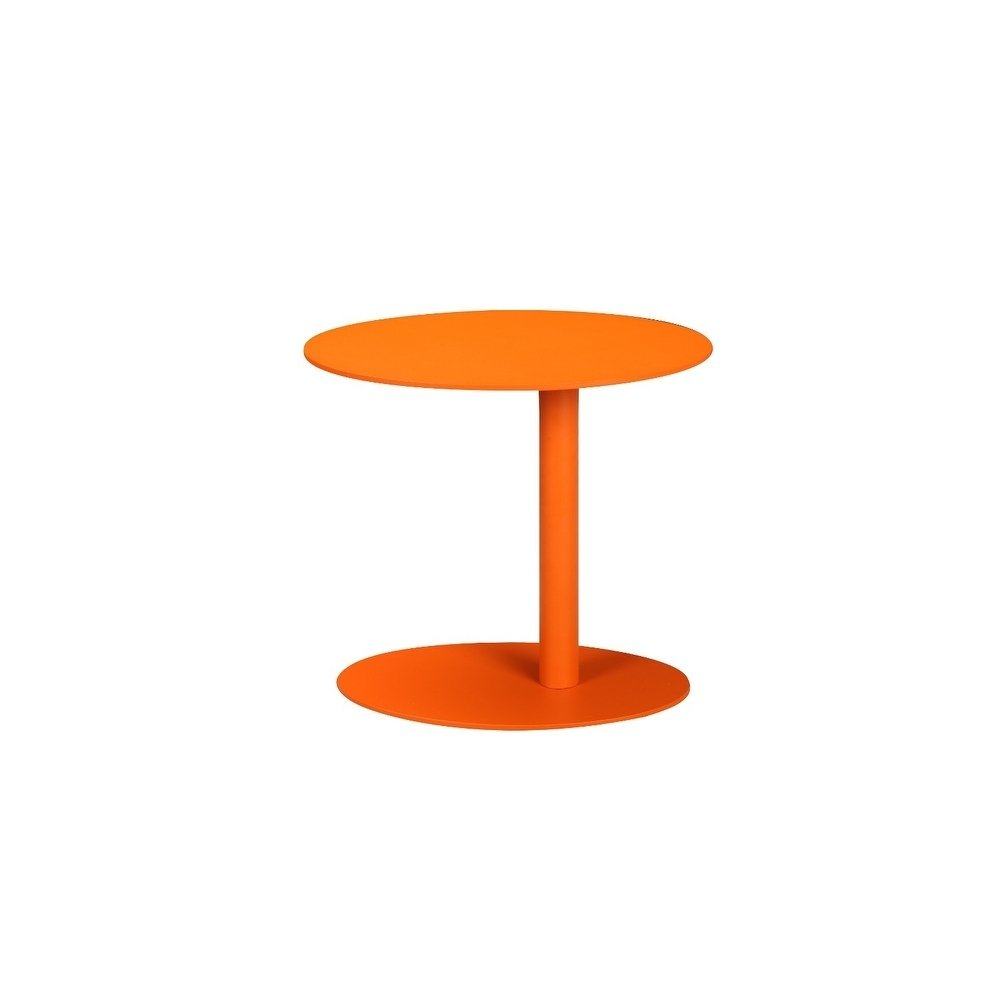 modern metal outdoor side table with oval top and base orange free shipping today teak wood furniture mini crystal lamp small living room end tables plastic patio sets clearance