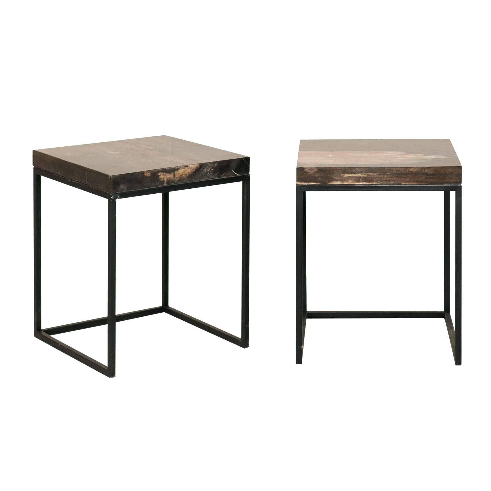 modern metal side table white outdoor tables pair style petrified wood and for maia accent with marble top furniture square thanksgiving tablecloth live decorative cabinets living