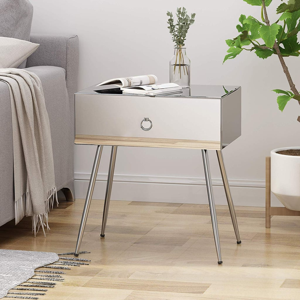 modern mirrored accent table bedroom furniture with drawer adjustable hairpin legs rustic living room end tables west elm free shipping coupon code essentials rest pillow teal