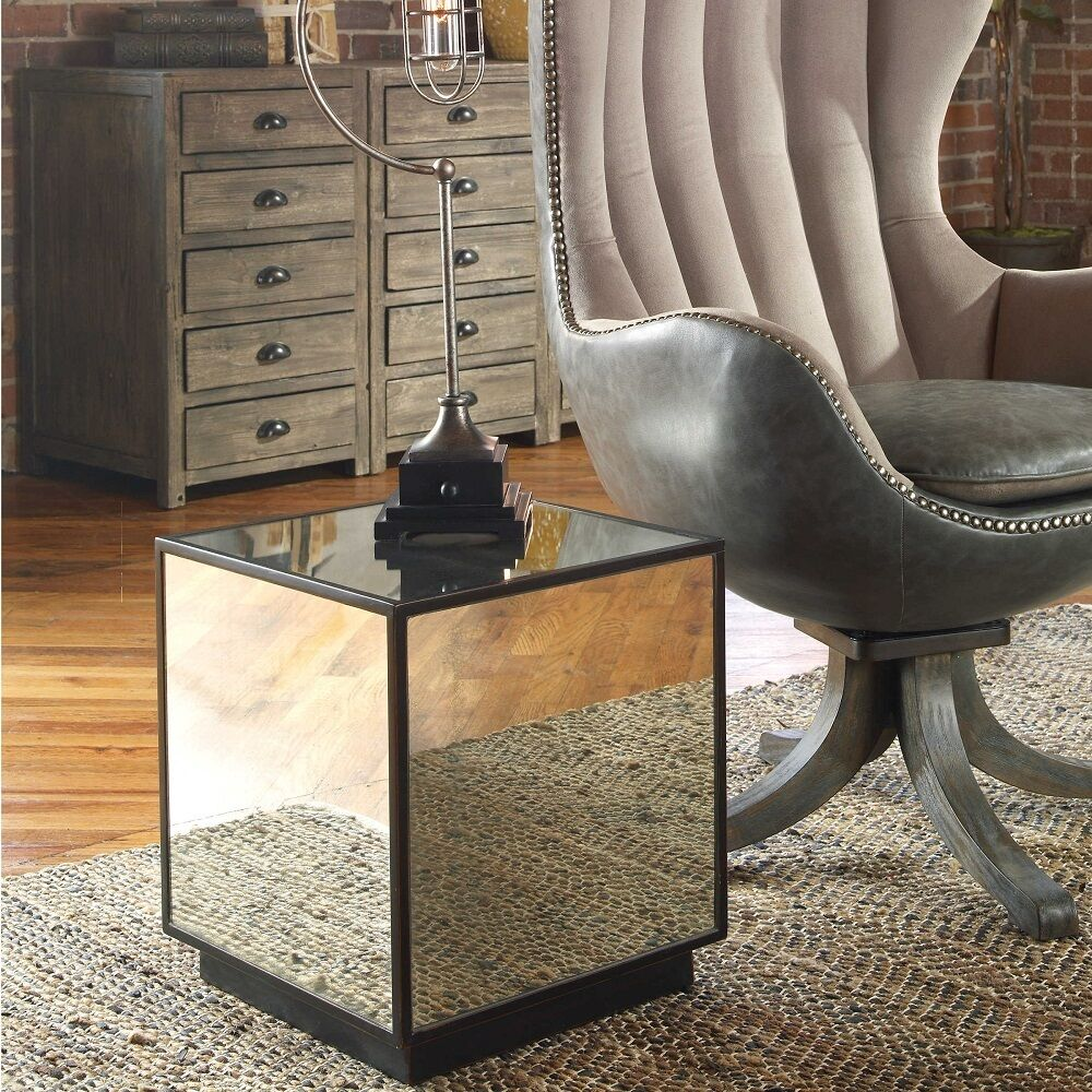 modern mirrored cube side end accent table antiqued mirror glass with drawer details about contemporary legged chrome teak dining chairs leg extenders usb coffee outside patio