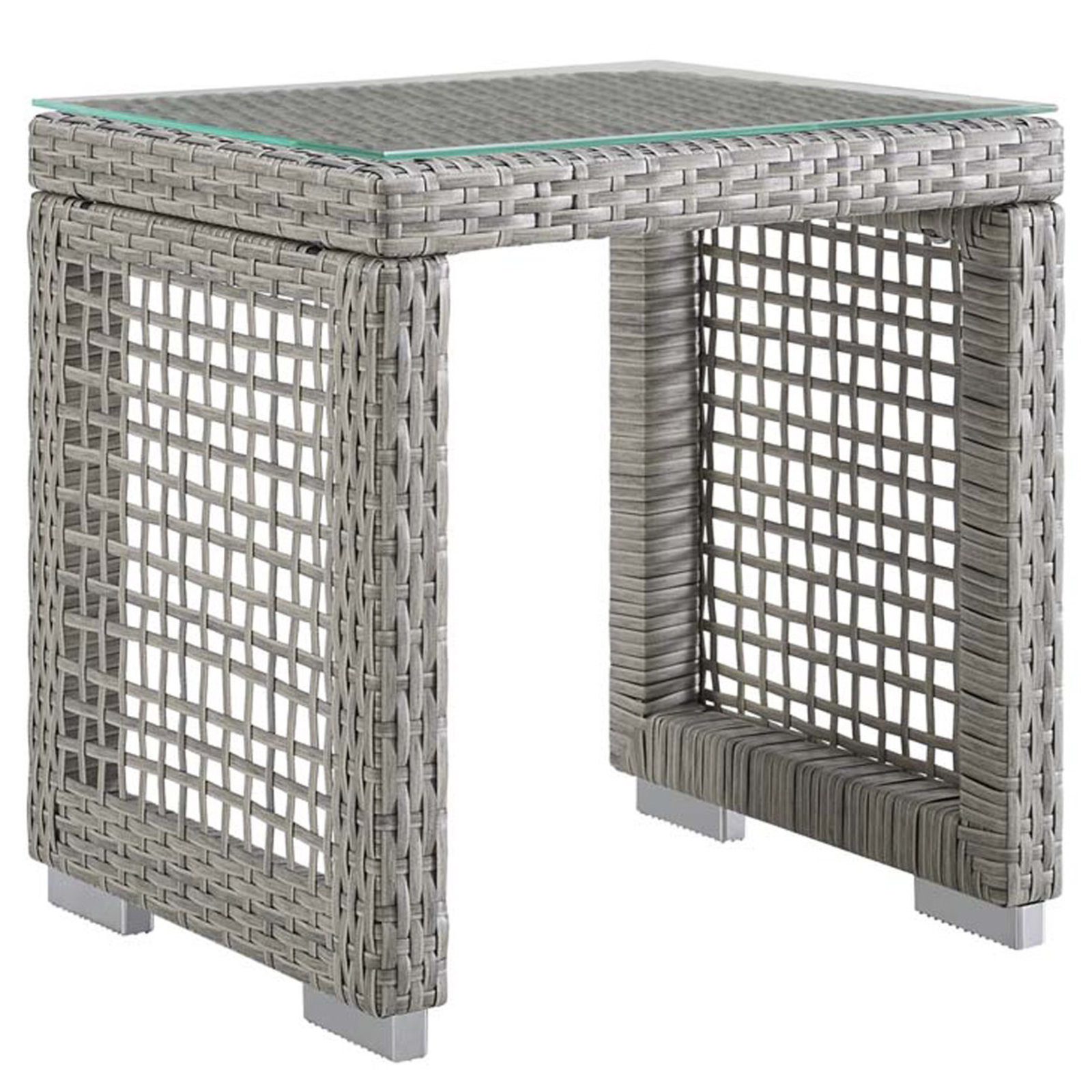 modern open weave outdoor side table shades light grey gray square tables living room narrow mirrored bedside cabinets round oak end wine stoppers target cherry wood accent gold