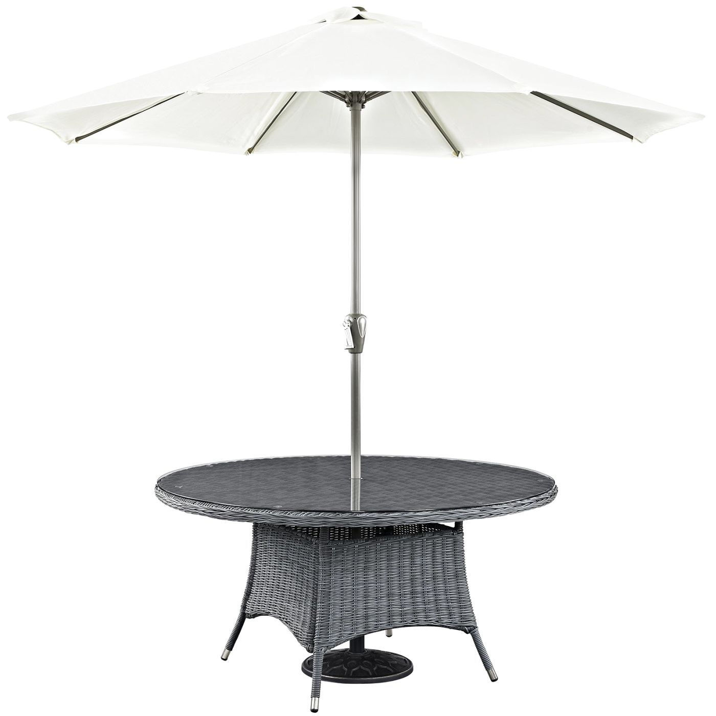 modern outdoor and patio furniture contemporary dining tables modway eei gry summon round table gray umbrella accent antique living room legion pottery barn square dale tiffany
