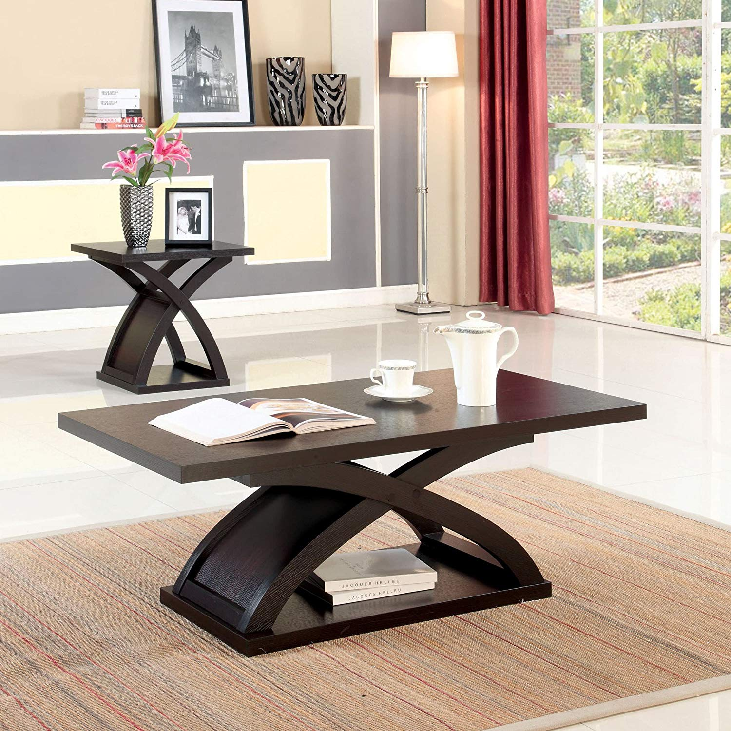 modern piece base accent table set includes coffee and end contemporary functional made from solid wood veneers round glass top bedside vintage telephone formal dining room