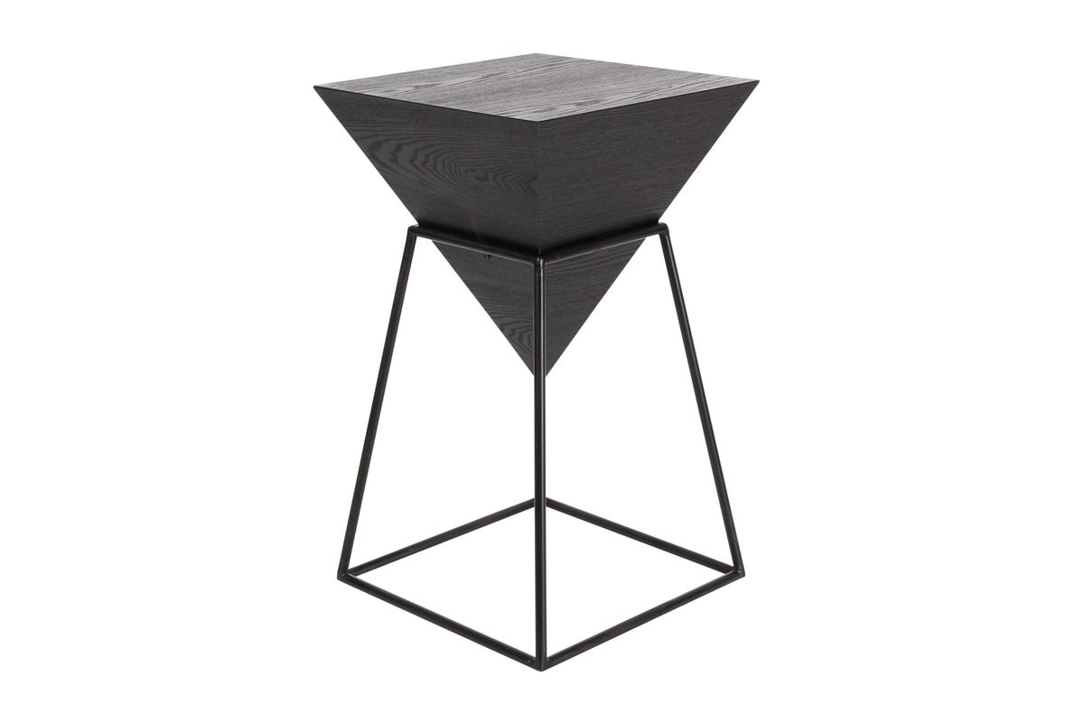 modern reflections inverted pyramid accent table metallic black trunk end uma from gardner white furniture pottery barn stump bedroom vanity diy wood with pipe legs homegoods