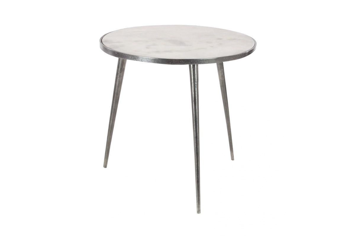modern reflections marble accent table metallic grey pedestal from gardner white furniture ashley cocktail tables narrow hallway cabinet small round metal patio target coffee pine