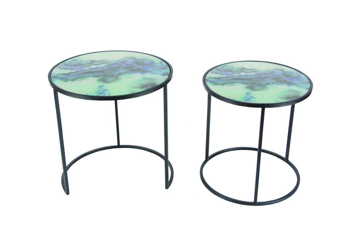 modern reflections marble accent table set black blue white from gardner living spaces end tables rod iron side chrome threshold bars bar height dining room sets small outdoor