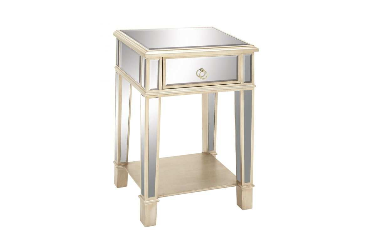 modern reflections mirrored accent table gardner white throughout with drawer ikea garden chairs mid century entry sheesham wood console pier outdoor furniture unfinished small