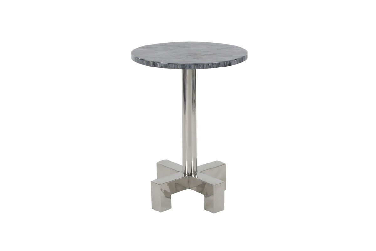 modern reflections round marble accent table dark grey pedestal from gardner white furniture distressed side patio umbrella inexpensive legs outdoor shoe storage vancouver black