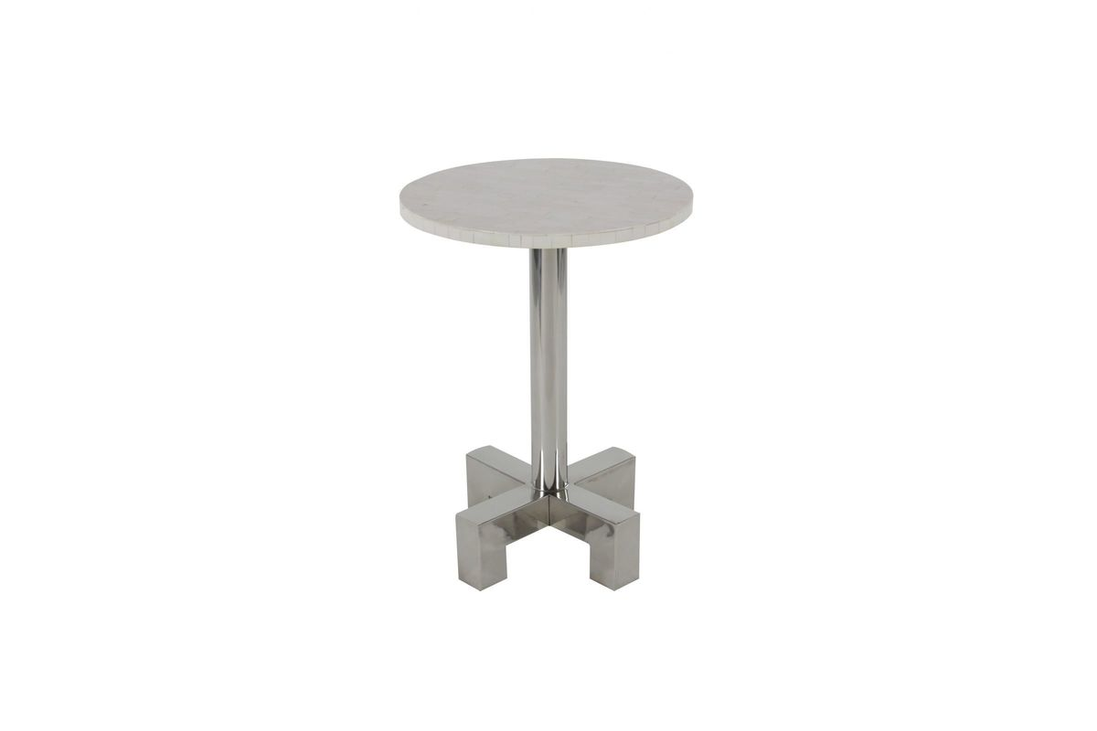 modern reflections round marble accent table silver pedestal from gardner white furniture vancouver floor cabinet mosaic garden side inexpensive legs tall bistro set outdoor