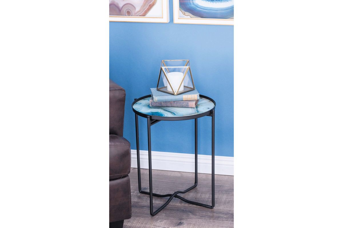 modern reflections smoked glass accent table light blue share mid century and chairs ashley furniture end tables coffee retro bedroom chair leather drum stool outdoor patio sofa