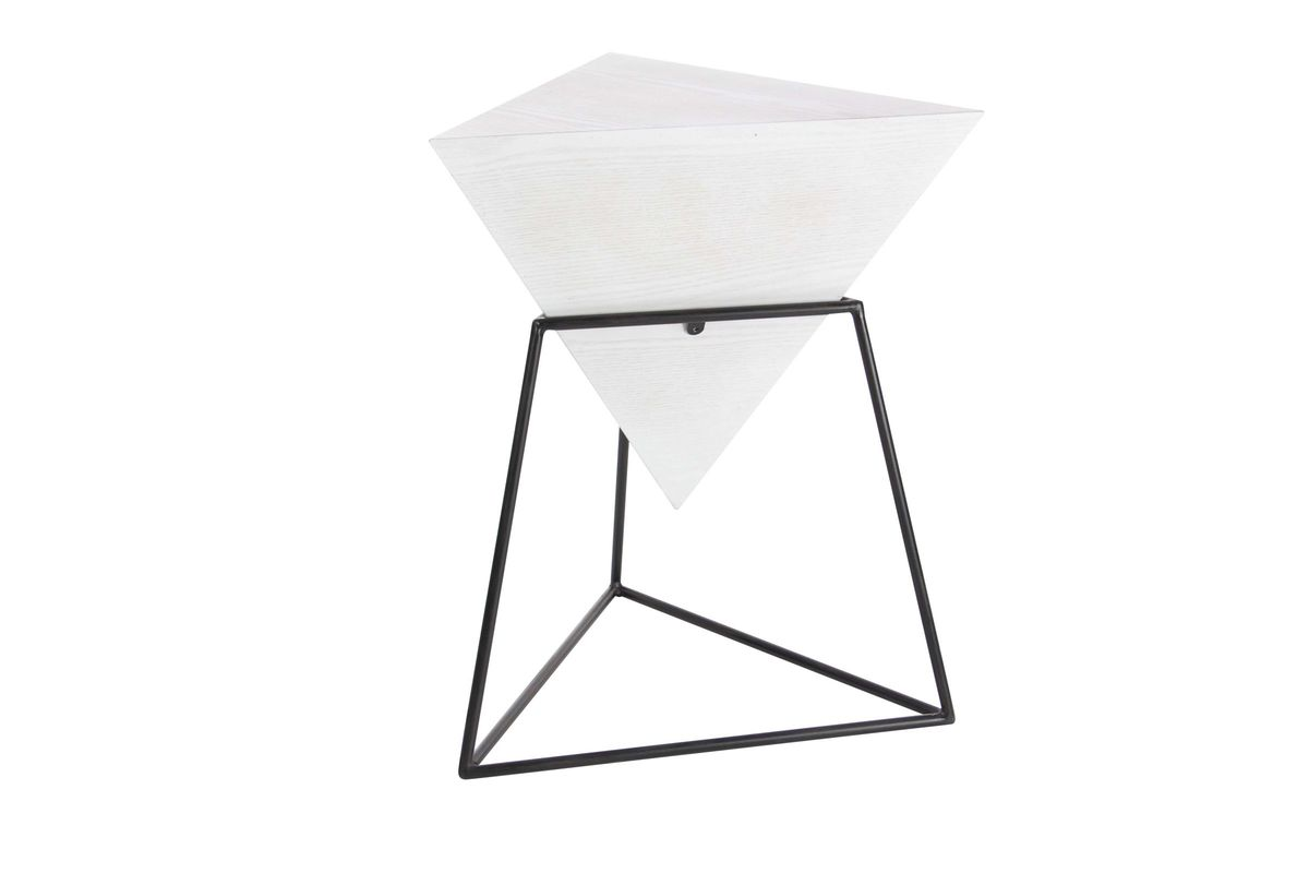 modern reflections triangle accent table matte white black from gardner furniture bedroom for small rooms round entry sofa mirror canadian tire lawn chairs trestle style kitchen