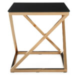 modern rose gold and black glass geo end table zuri furniture adjustable height accent reclaimed wood bombay white farmhouse dining target red waterford crystal lamps side with 150x150