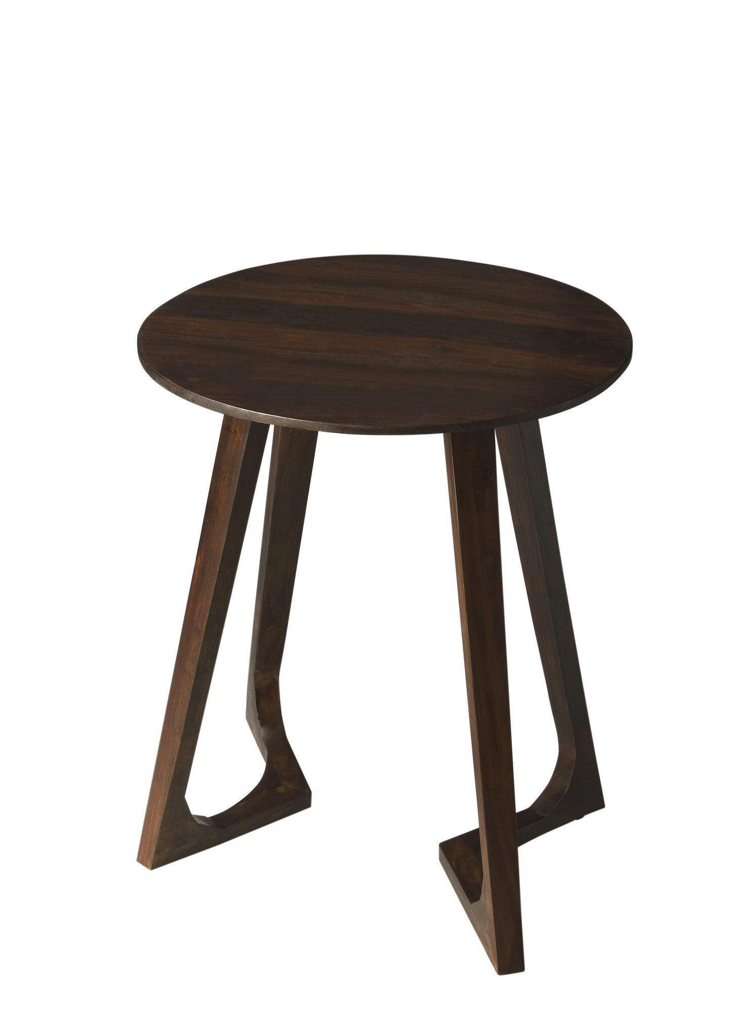 modern round accent table dark brown solid wood contemporary crafted entirely from sheesham with espresso finish whimsically unorthodox legs accentuate this compelling aesthetic