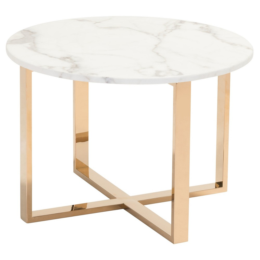 modern round faux marble and stainless steel end table gold top accent home stone terence conran furniture square drop leaf espresso nightstand rustic legs ashley desk wire side