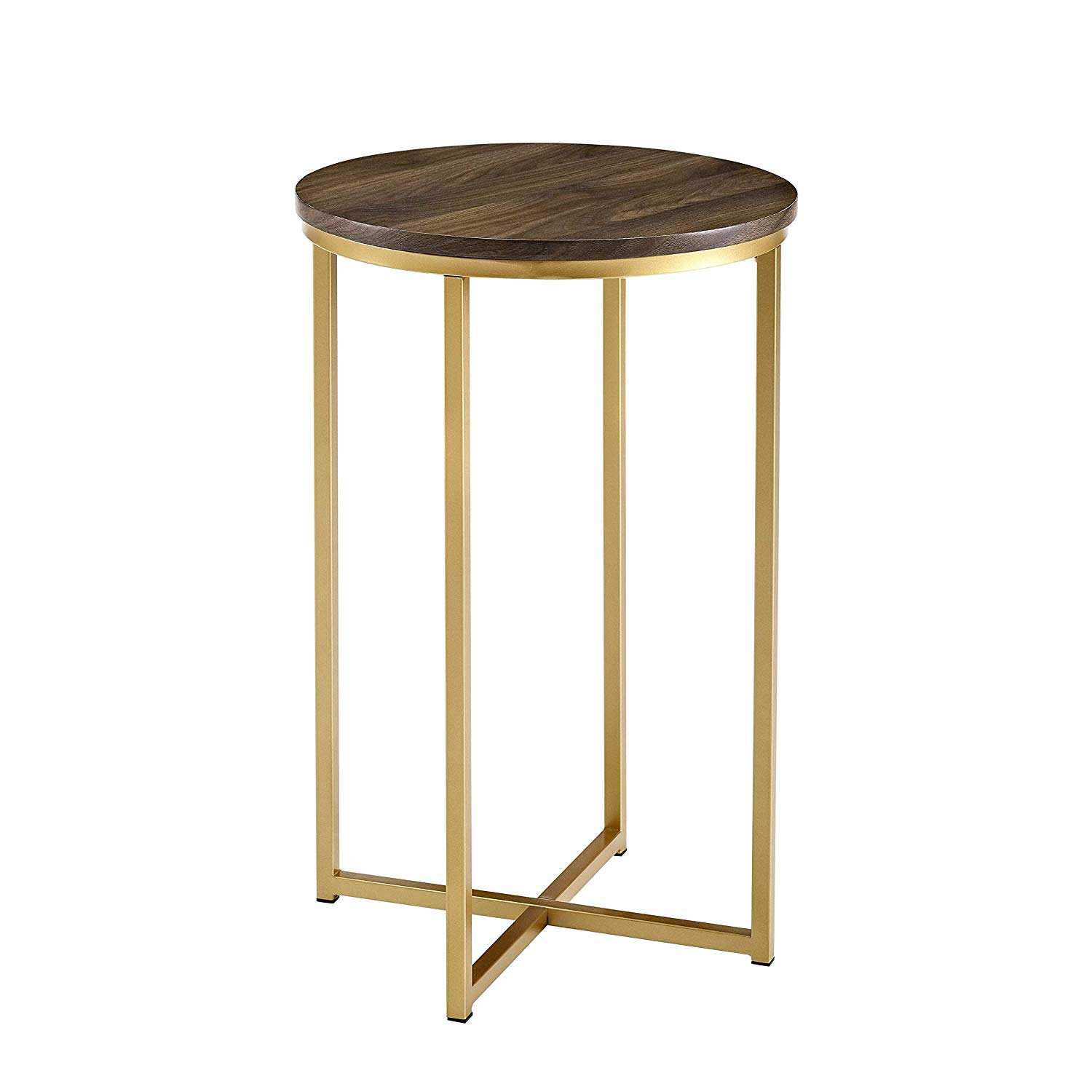modern round side table freya accent gold dark walnut goldtone finish wood kitchen dining target luxury lamps oak end tables with drawers hampton bay patio set wooden bedside inch