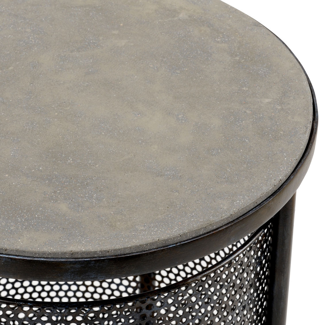 modern side table dandelion spell accent silver gray iron with raw steel finish concrete top dragonfly lamp oriental ceramic lamps diy outdoor wood patio furniture over the toilet