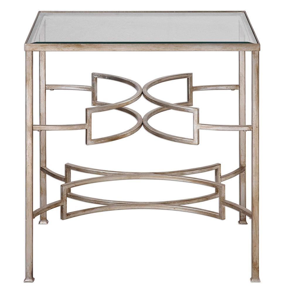 modern silver leaf accent table with glass top small white patio side west elm carved wood coffee ikea black cube storage contemporary metal end tables half moon log wooden