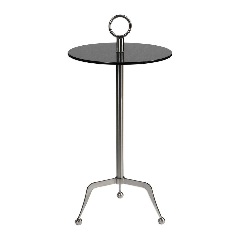 modern steel and glass accent table with tripod leg scenario home metal round mirror dining room wine rack elephant coffee top large end jcpenney rugs clearance small cherry wood