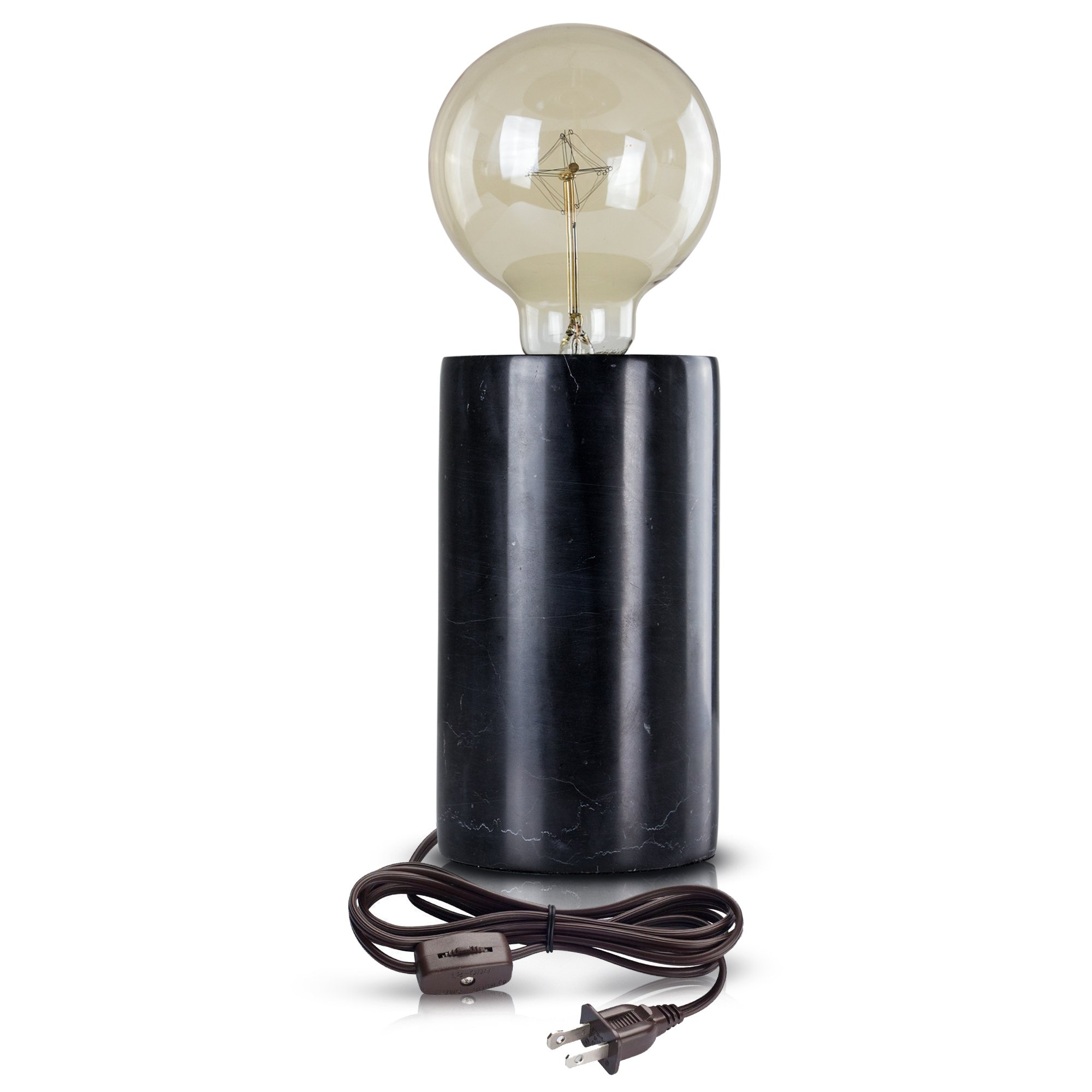 modern stylish black marble cylinder inch accent table lamp free shipping today glass coffee and side tables kids bedside perspex nest crescent supply penny lamps outdoor