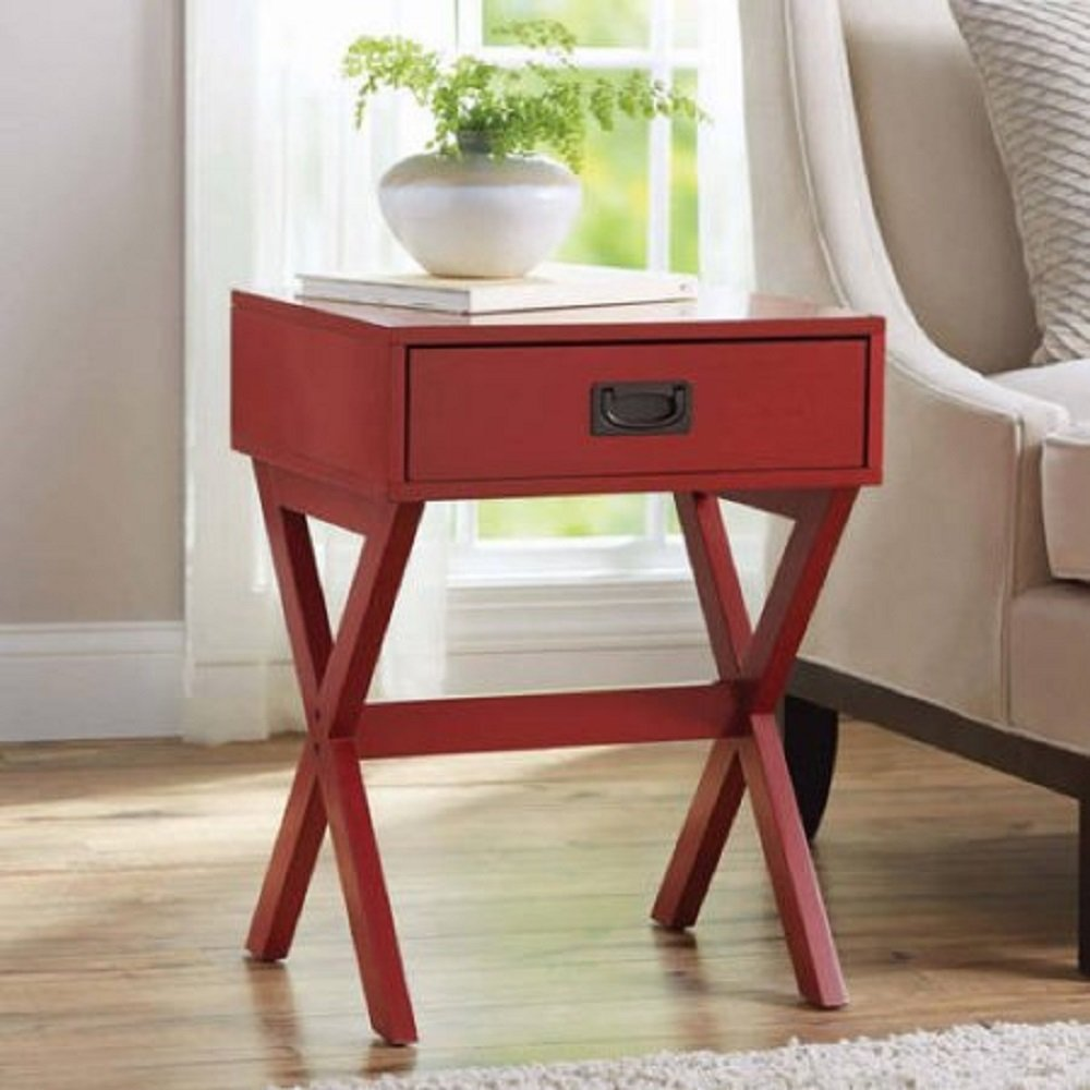 modern stylish leg one drawer accent side table red wood nightstand high kitchen dining gray room chairs outdoor target hourglass rustic chic end tables stein world furniture