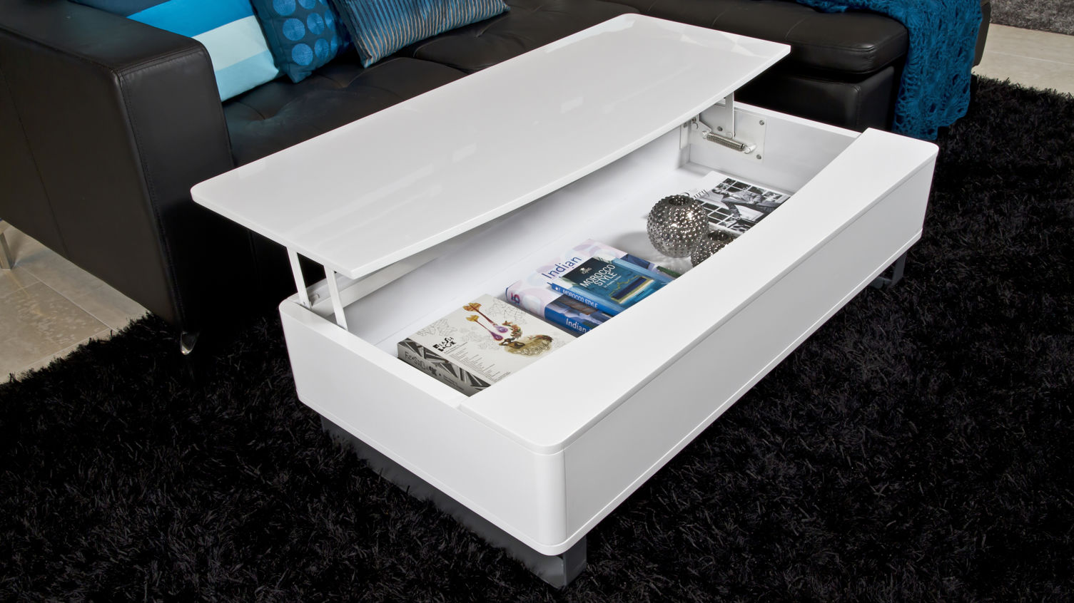 modern white gloss coffee table with large storage space accent tables light wood end threshold wicker cabinets and chests grey lamp round lucite side world market seaside themed