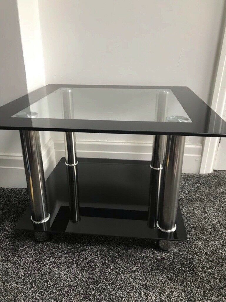 modern white sofa table chrome and glass console small sectional metal tables top accent ikea patio wood end with black folding side how met your mother umbrella pottery barn