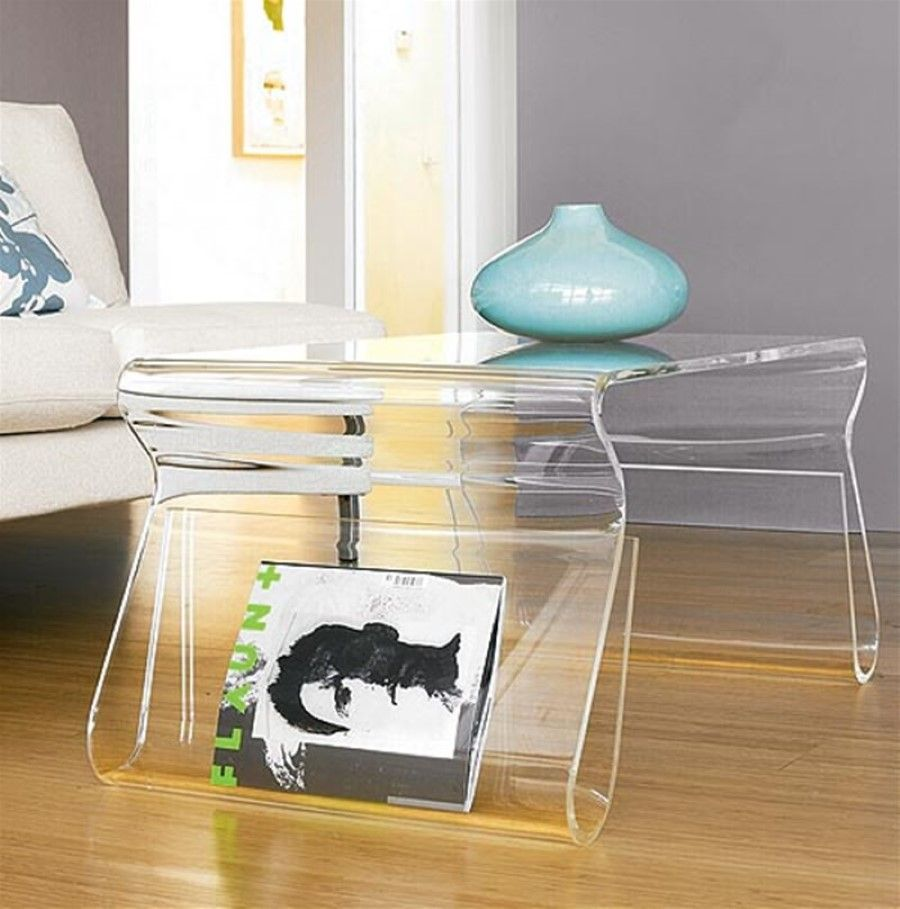 modern wooden floor design idea feat stylish clear coffee table with acrylic zella accent magazine rack storage nice tables offering sleek for living room black metal stools green