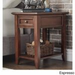 modhaus living modern espresso brown wood accent end table with drawer night stand hidden power strip charging station storage and shelf includes kids white desk cordless lamps 150x150