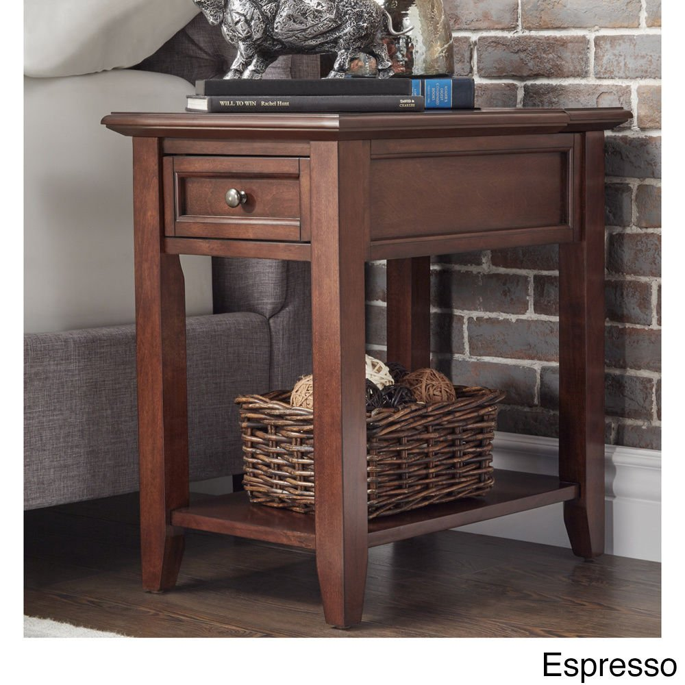 modhaus living modern espresso brown wood accent end table with drawer night stand hidden power strip charging station storage and shelf includes kids white desk cordless lamps