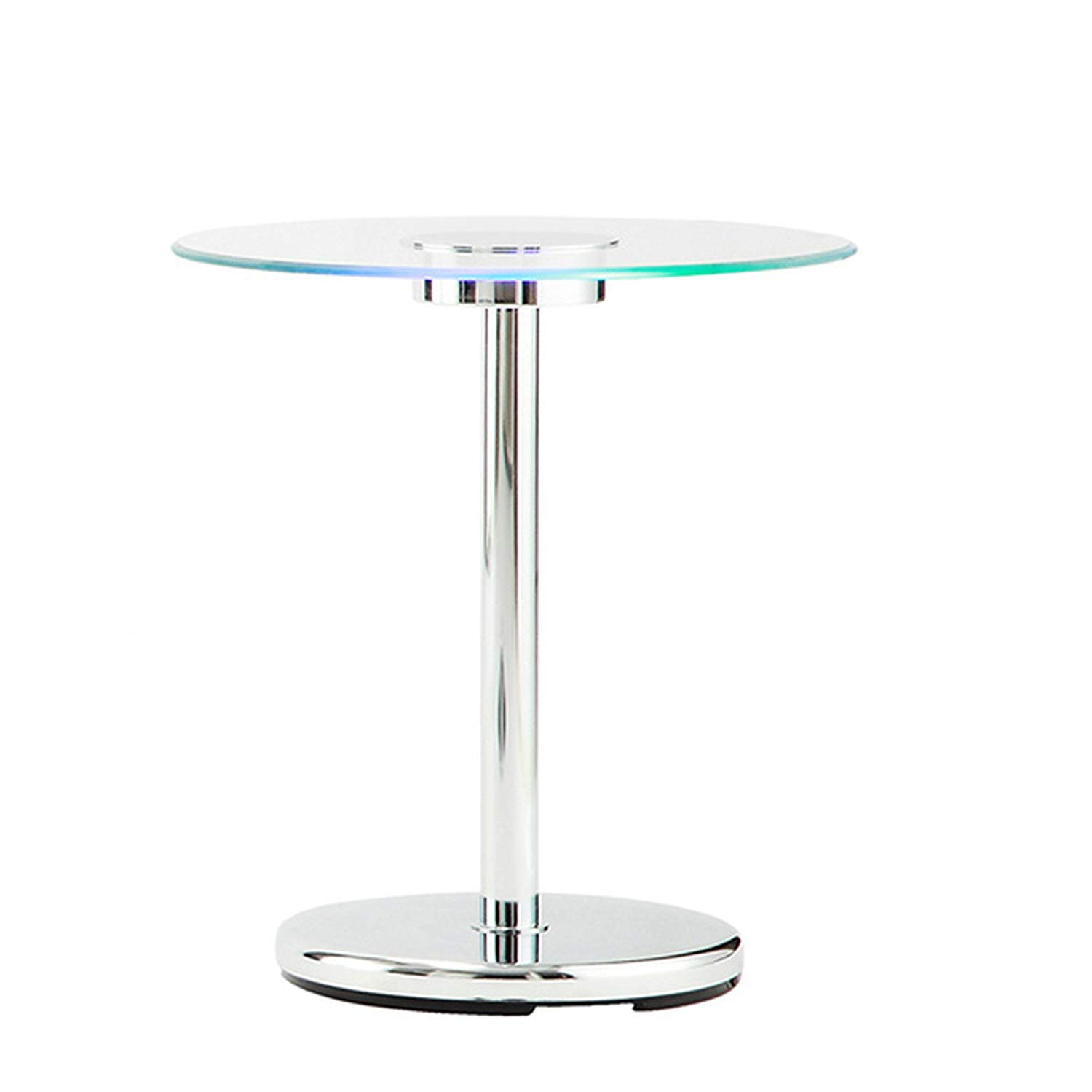 modhaus living modern style led accent tempered glass top table round shaped counter height end chrome metal frame room decor art deco furniture patio umbrella stand small white