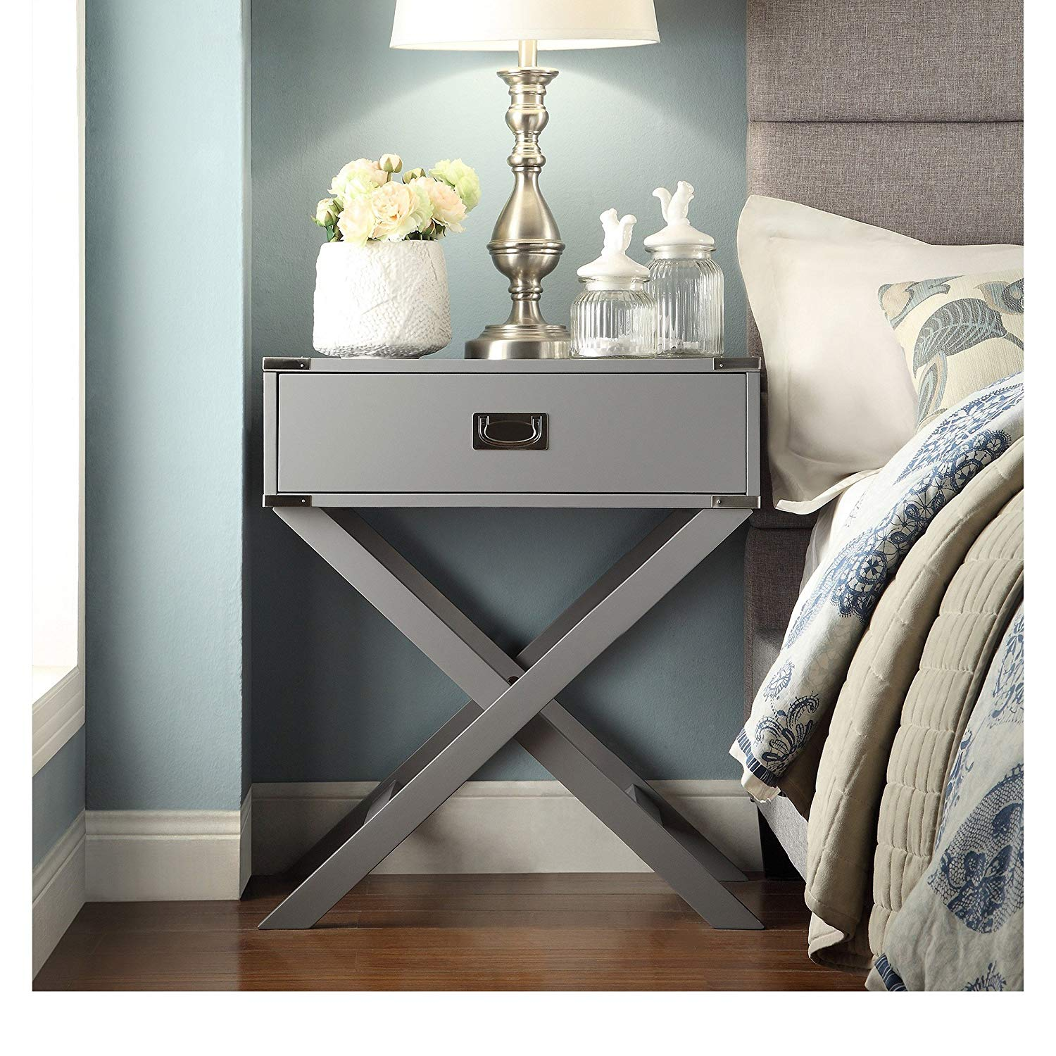 modhaus living modern wood accent base nightstand table campaign sofa rectangle shaped with storage drawer includes pen gray kitchen target end tall thin bedside home interiors